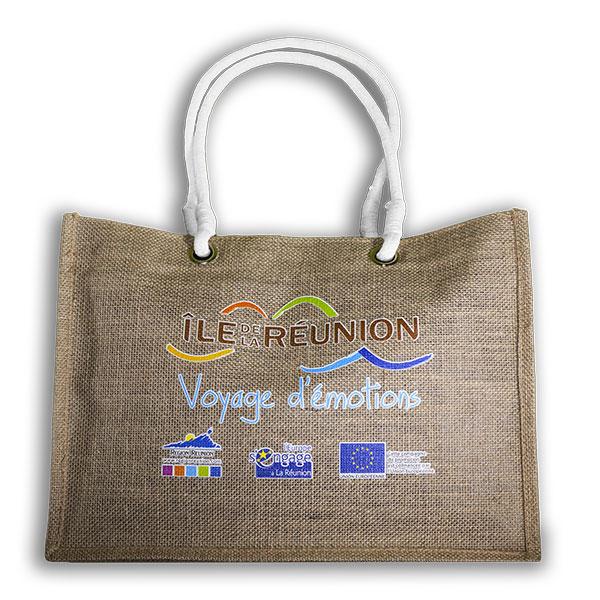 sac en toile de jute publicitaire pour l'Ile de la Réunion