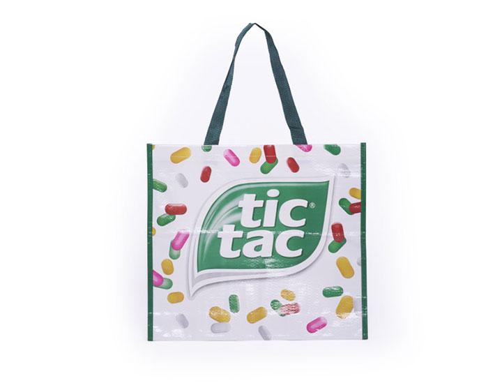 sac cabas polypropylene tisse sac reutilisable pour la marque Tic Tac