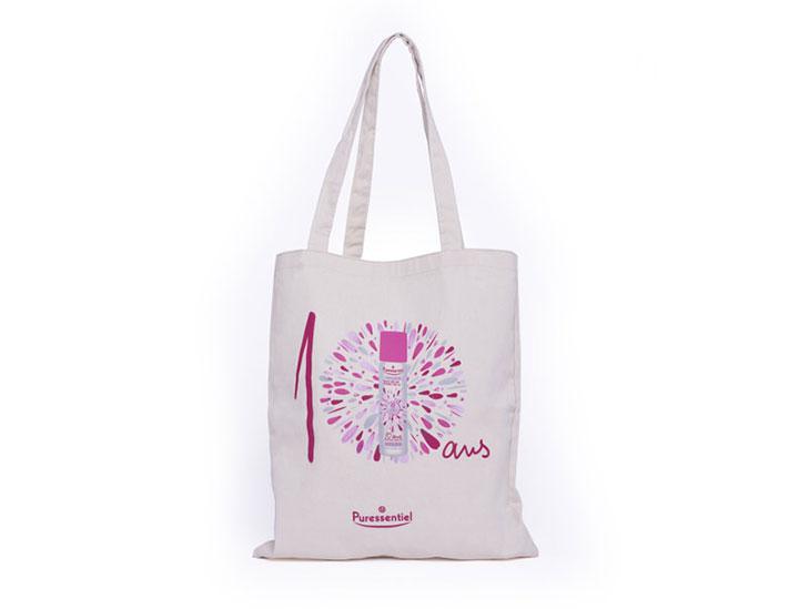 sac coton publicitaire personnalise sur-mesure pour la marque puressentiel