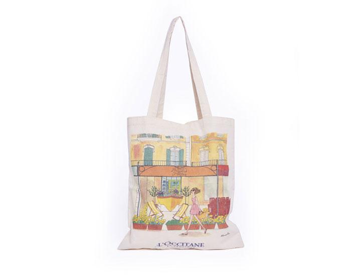 sac publicitaire coton type tote bag en coton pour la marque l'occitane