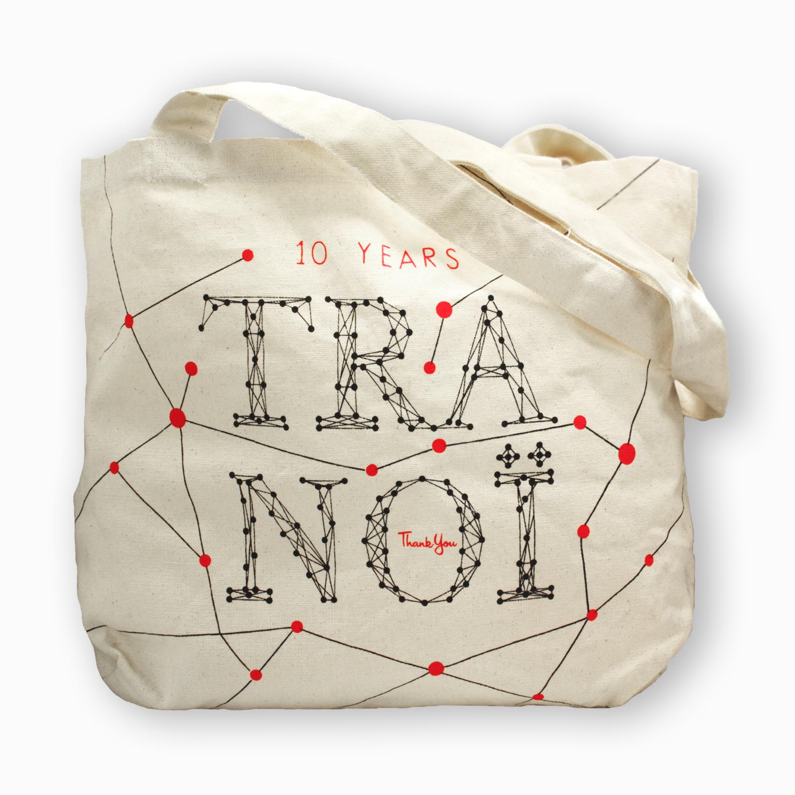 sac shopping en coton type tote bag personnalisé pour la marque Tranoï