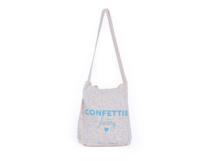 Tote bag entreprise type sac coton personnalisable pour des commandes sur-mesure pour la marque confettis factory