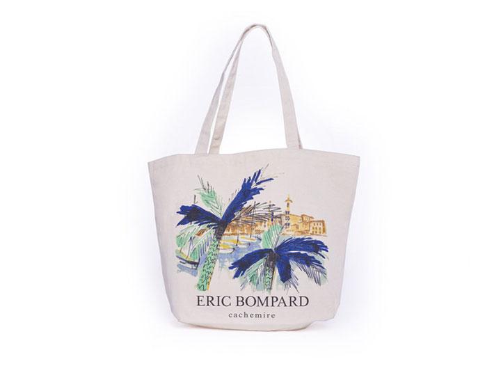 tote bag imprimé personnalisé type sac coton publicitaire sur-mesure pour les entreprises, création pour la marque Eric Bompard
