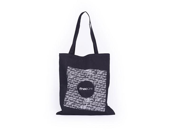 Tote bag personnalisable de couleur noir type sac coton personnalisé pour la marque FNAC